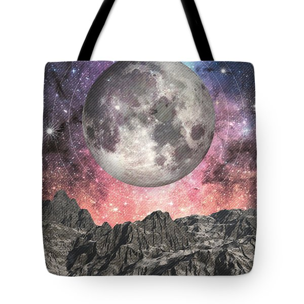 Moon Over Mountain Lake Tote Bag by Phil Perkins
