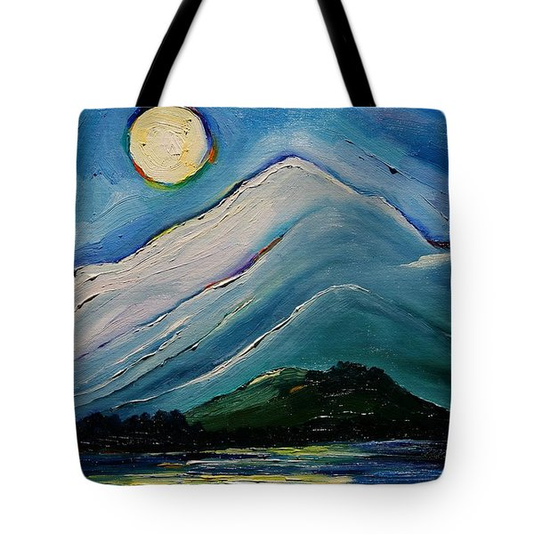 Moon Over Pioneer Peak Tote Bag