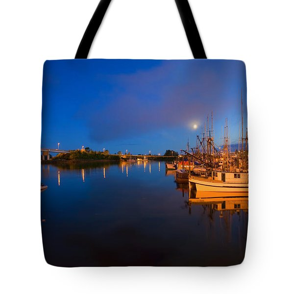 Moon Over Sitka Marina Tote Bag by Mike  Dawson