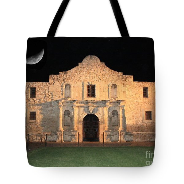 Moon Over The Alamo Tote Bag
