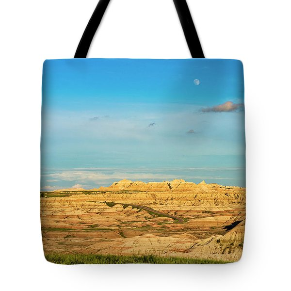 Moon Over The Badlands Tote Bag