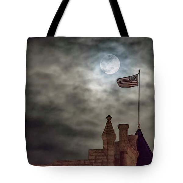 Tote Bag featuring the photograph Moon Over The Bank by Rob Graham
