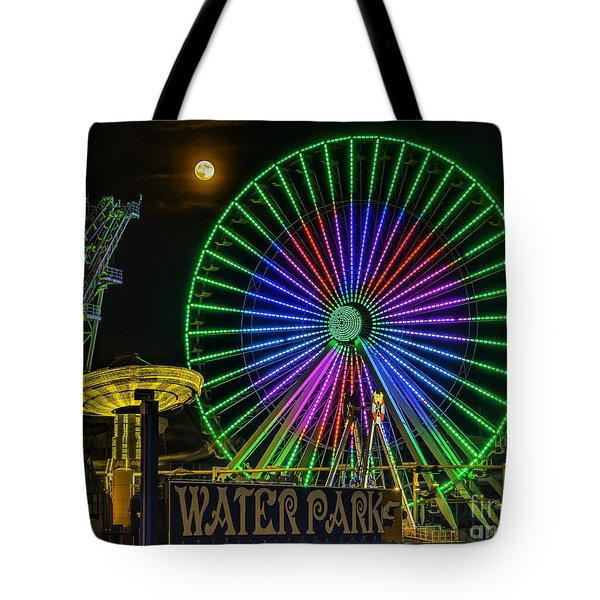 Moon Over The Ferris Wheel Tote Bag