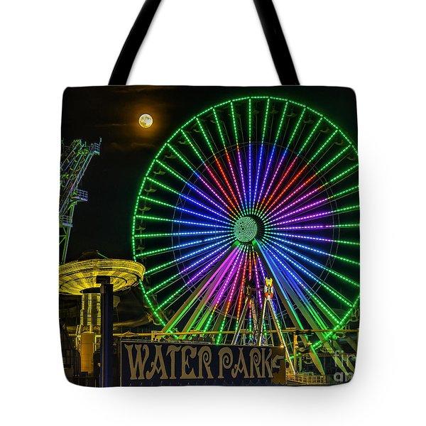 Moon Over The Ferris Wheel Tote Bag