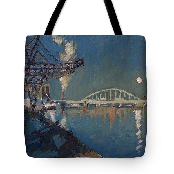 Moon Over The Railway Bridge Maastricht Tote Bag