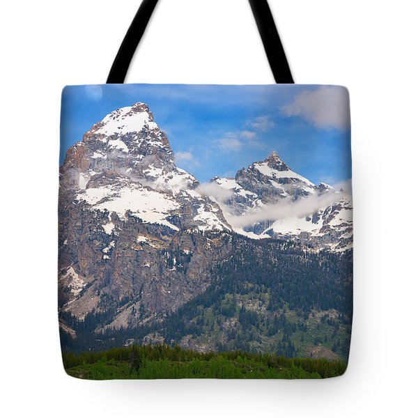 Moon Over The Tetons Tote Bag