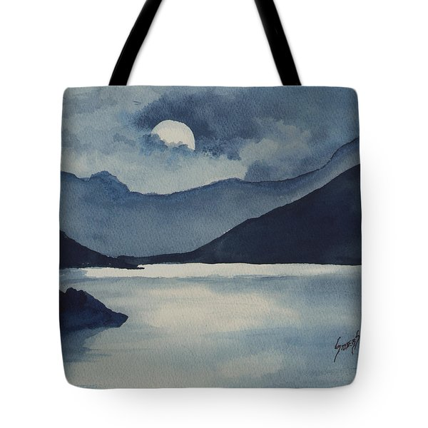 Tote Bag featuring the painting Moon Over The Water by Sam Sidders