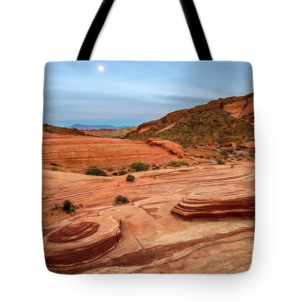 Moon Over Valley Of Fire Tote Bag