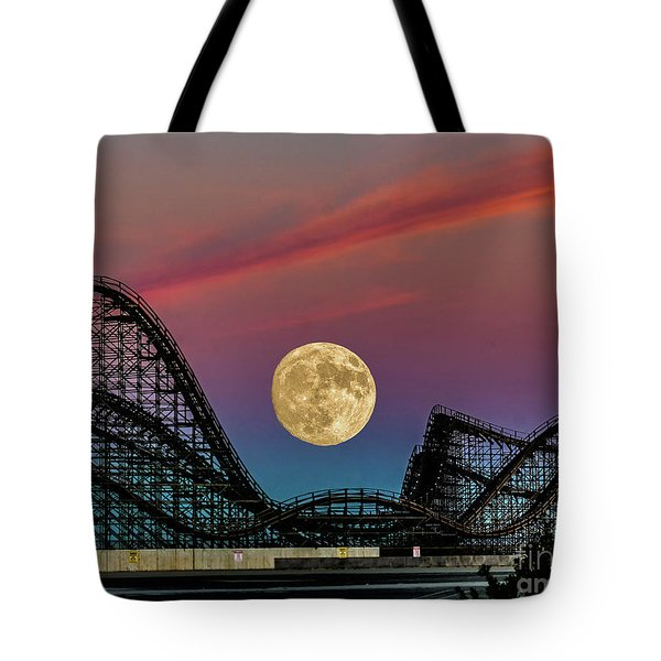 Moon Over Wildwood Nj Tote Bag by Nick Zelinsky