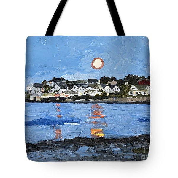 Moon Over York Beach Tote Bag