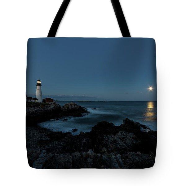 Moon Rise At Portland Headlight Tote Bag
