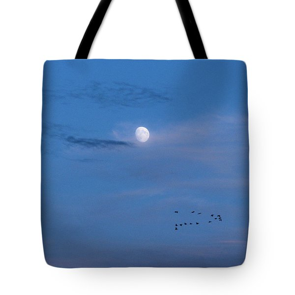 Moon Rises Geese Fly Tote Bag