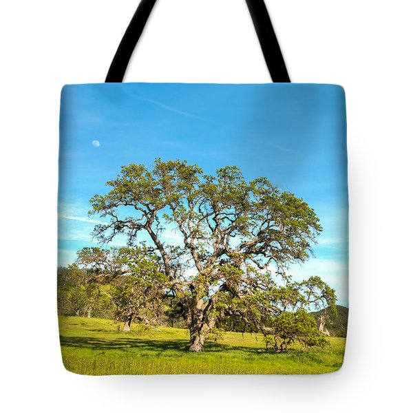 Moon Rising Meadow With Wild Flowers Tote Bag
