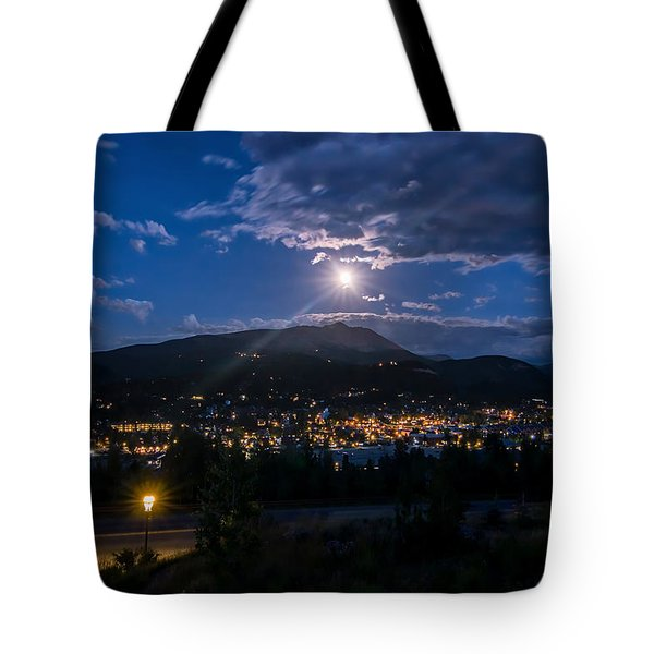 Moon Rising Over Breckenridge Tote Bag