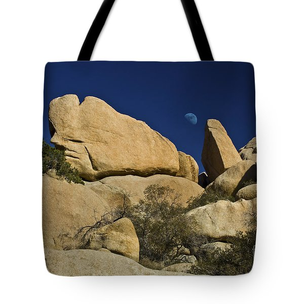Moon Rising Over Indian Rock Tote Bag