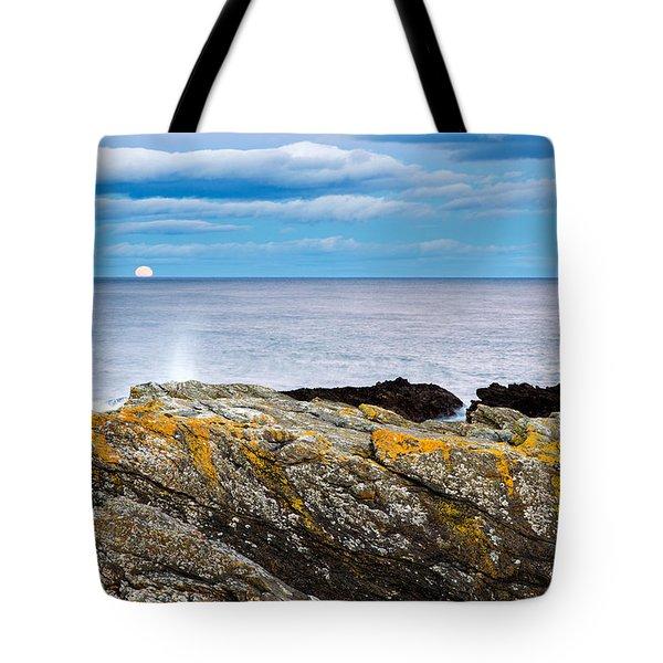 Moon Rising Over Sea At Portlethen, Scotland Tote Bag