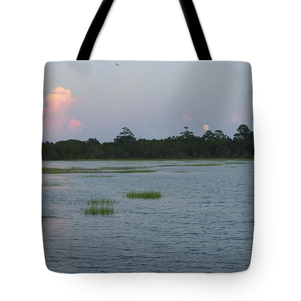 Moon Rising Over The Inlet Tote Bag by Suzanne Gaff