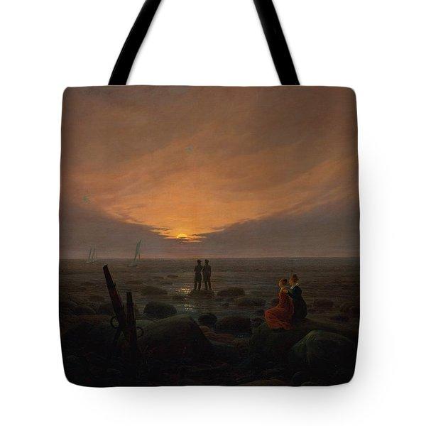 Moon Rising Over The Sea Tote Bag by Caspar David Friedrich
