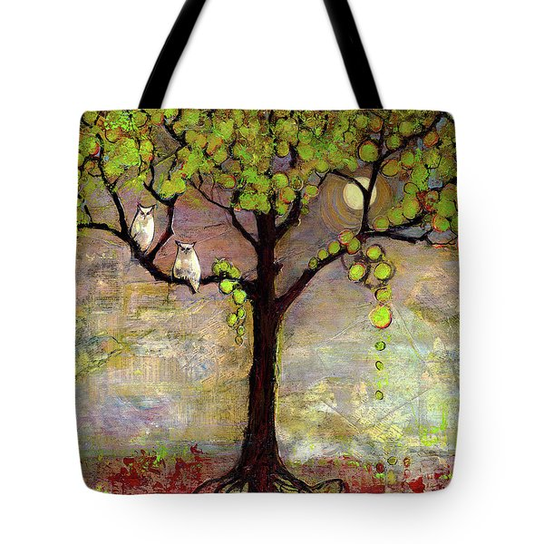 Moon River Tree Owls Art Tote Bag