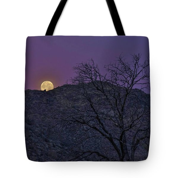 Moon Set At Sunrise Tote Bag