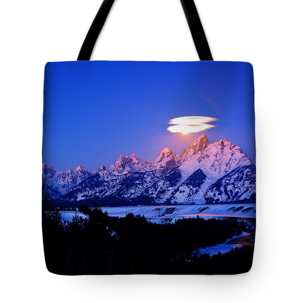Moon Sets At The Snake River Overlook In The Tetons Tote Bag