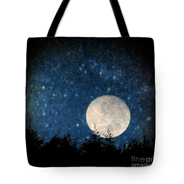 Moon, Tree And Stars Tote Bag