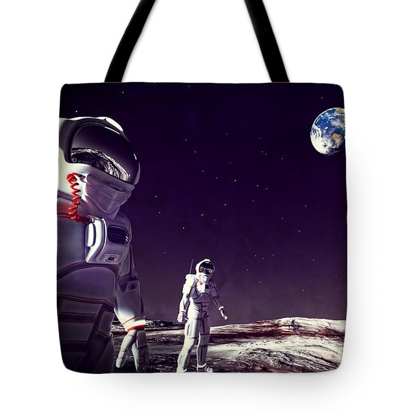 Tote Bag featuring the digital art Moon Walk by Methune Hively