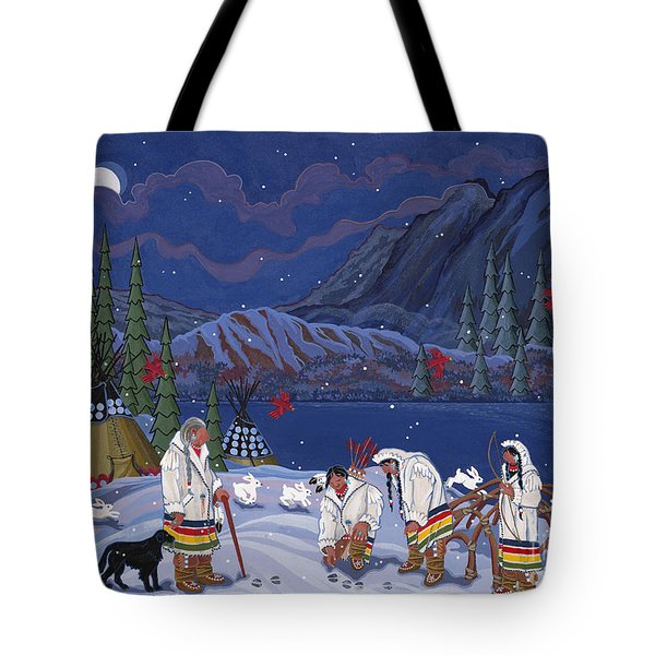 Tote Bag featuring the painting Moon When The Rivers Dream by Chholing Taha