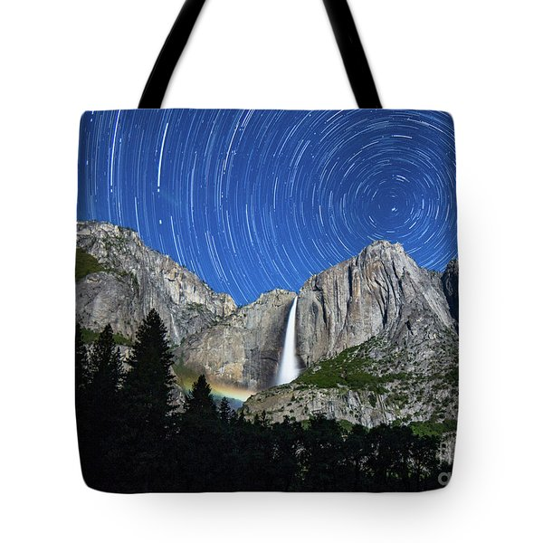 Moonbow And Startrails  Tote Bag