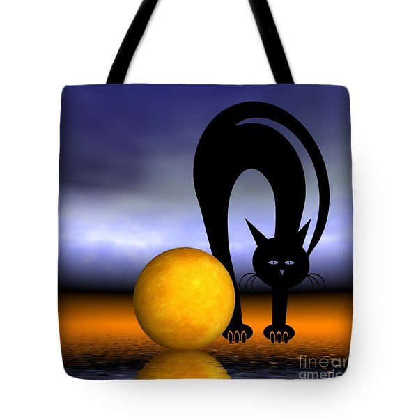 Mooncat's Play With The Fullmoon Tote Bag