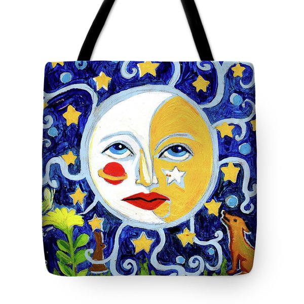 Tote Bag featuring the painting Moonface With Wolf And Stars by Genevieve Esson