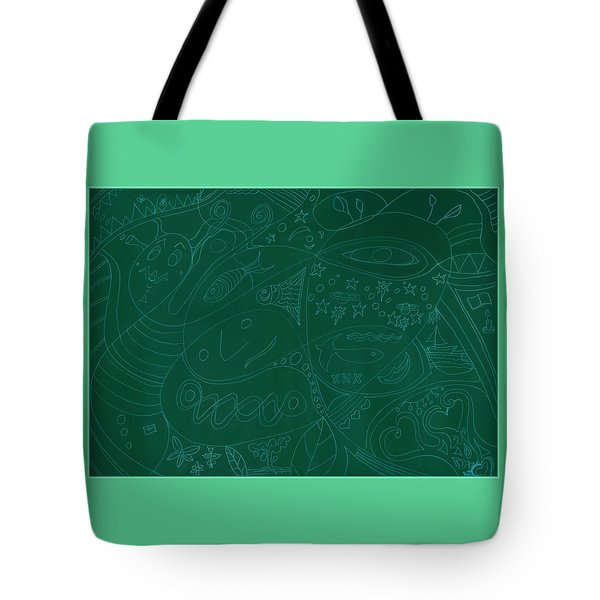 Moonfish Drawing Negative Green Chalk Tote Bag