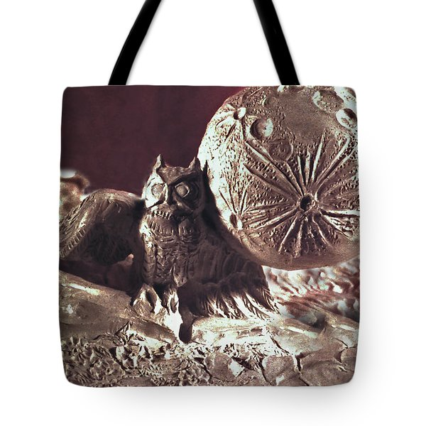 Moonhorse Detail Owl And Moon Tote Bag by Dawn Senior-Trask