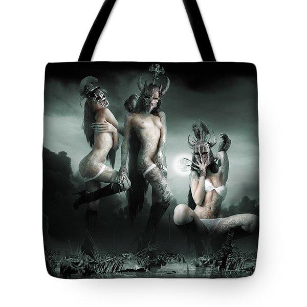 Moonlight Bathing Valkyries Tote Bag