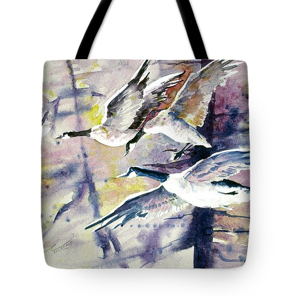 Moonlight Canadian Geese Tote Bag