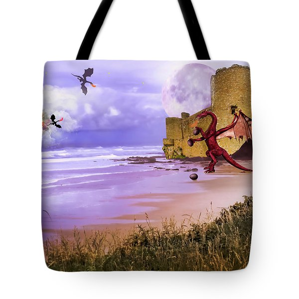 Moonlight Dragon Attack Tote Bag by Diane Schuster