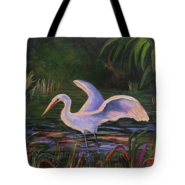 Moonlight Egret Tote Bag