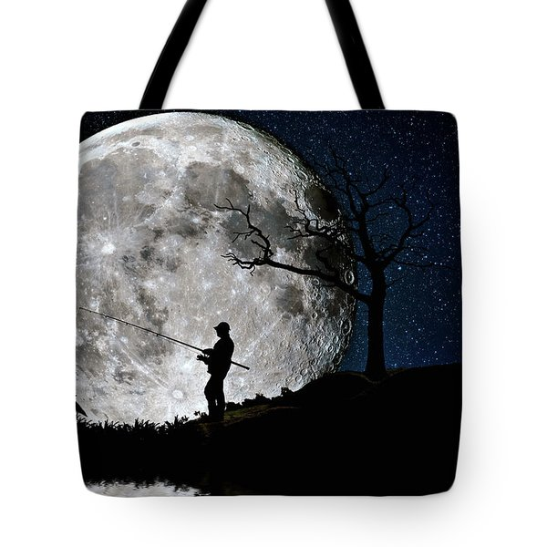 Tote Bag featuring the photograph Moonlight Fishing Under The Supermoon At Night by Justin Kelefas