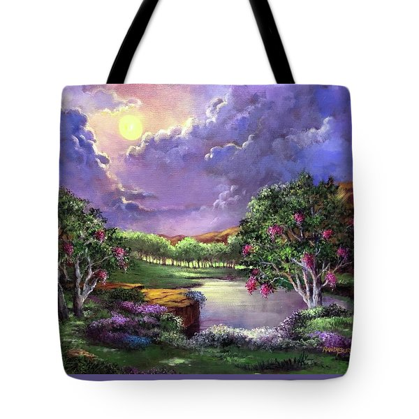 Moonlight In The Woods Tote Bag by Randy Burns