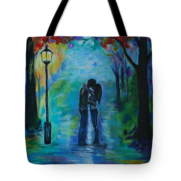 Tote Bag featuring the painting Moonlight Kiss by Leslie Allen
