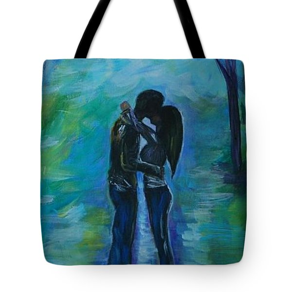 Tote Bag featuring the painting Moonlight Kiss Series 1 by Leslie Allen