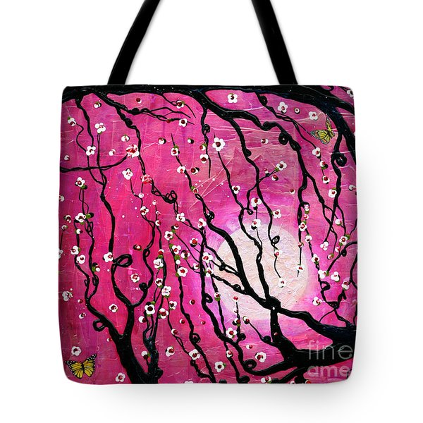 Tote Bag featuring the mixed media Moonlight Melody by Natalie Briney