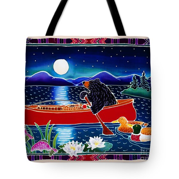 Moonlight On A Red Canoe Tote Bag