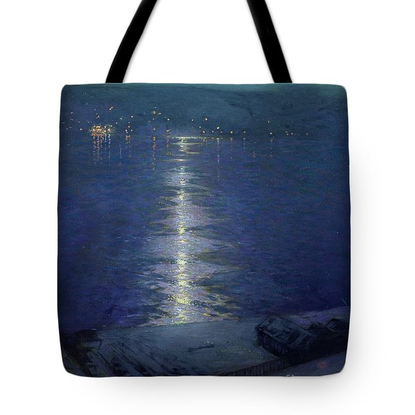 Moonlight On The River Tote Bag by Lowell Birge Harrison