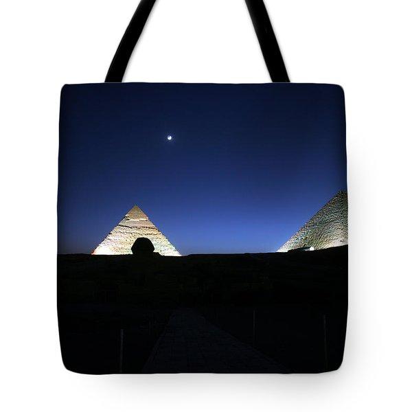 Moonlight Over 3 Pyramids Tote Bag