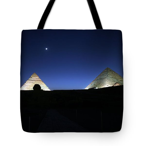 Moonlight Over 3 Pyramids Tote Bag