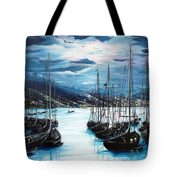 Moonlight Over Port Of Spain Tote Bag by Karin  Dawn Kelshall- Best