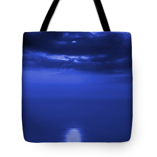 Moonlight Reflecting In The Sea Tote Bag by Yali Shi