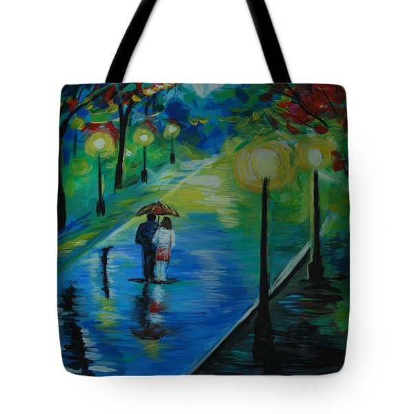 Tote Bag featuring the painting Moonlight Stroll by Leslie Allen