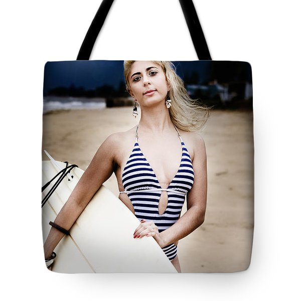 Moonlight Surfing Tote Bag